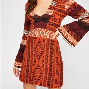 Free People Patchwork Sweater Dress NWT XS
